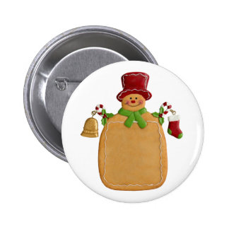 Christmas Ginger Bread Man 2 Inch Round Button