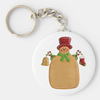 Christmas Ginger Bread Man Round Button Keychain