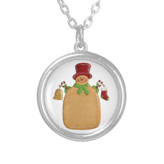 Christmas Ginger Bread Man Round Pendant Necklace
