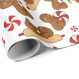 Christmas Gingerbread Candy Fun Wrapping Paper