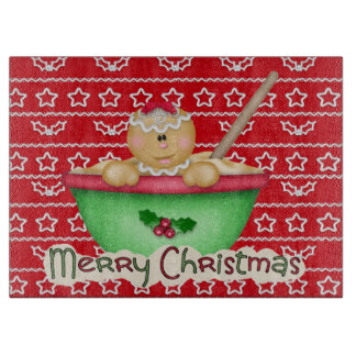 Christmas Gingerbread cookie glass cutting board