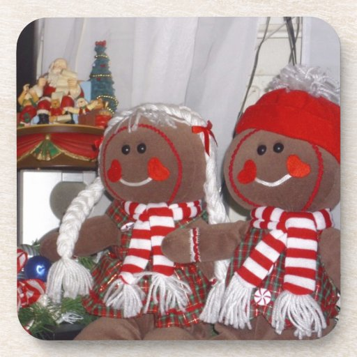 Christmas Gingerbread Couple Drink Coasters
