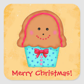 Christmas Gingerbread Cupcake Art Personalize Name Square Sticker