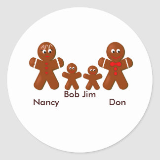 Christmas Gingerbread Family of Four Classic Round Sticker