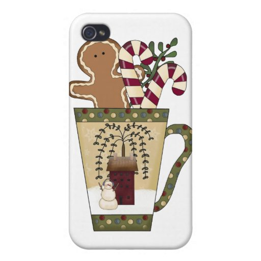 Christmas Gingerbread Holiday Greetings Case For iPhone 4