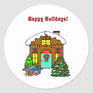 Christmas Gingerbread House and Happy Holidays Sticker