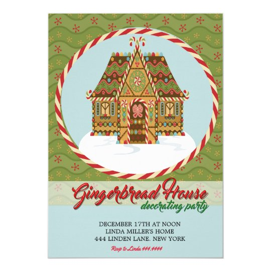 Christmas Gingerbread House Decorating Party Card