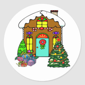 Christmas Gingerbread House Classic Round Sticker