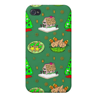 Christmas – Gingerbread Houses & Frosted Cookies iPhone 4 Cover
