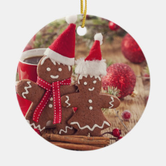 Christmas Gingerbread Man And Hot Drink Round Ceramic Decoration