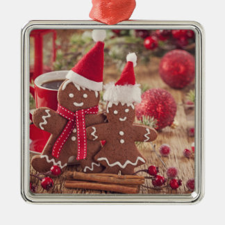 Christmas Gingerbread Man And Hot Drink Silver-Colored Square Decoration