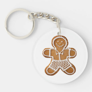 Christmas Gingerbread Man And Woman Double-Sided Round Acrylic Key Ring