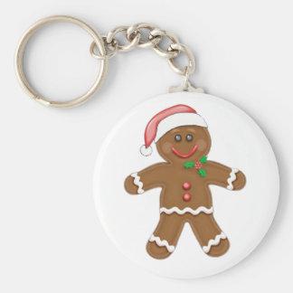 Christmas Gingerbread man Basic Round Button Key Ring