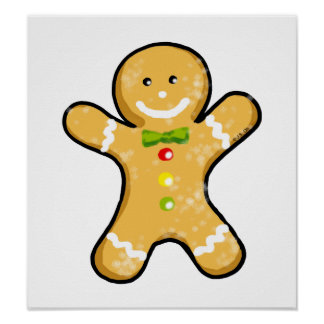 Christmas gingerbread man cookie poster