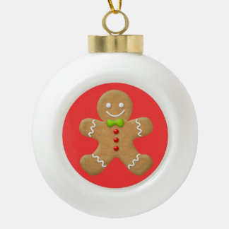 Christmas Gingerbread Man Cookie Red Green Ceramic Ball Decoration