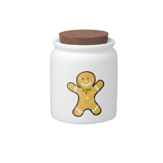Christmas gingerbread man cookie candy jar