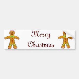 Christmas Gingerbread Man Hand Drawn Bumper Sticker