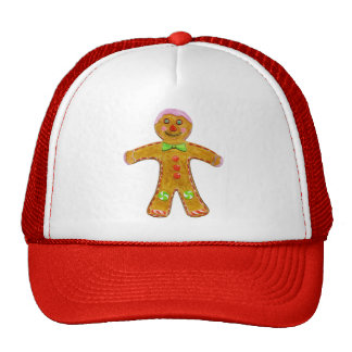 Christmas Gingerbread Man Hand Drawn Mesh Hat