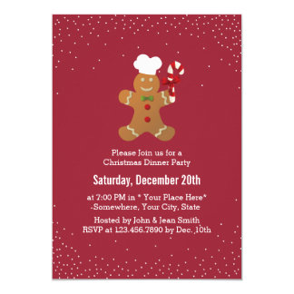 Christmas Gingerbread Man Holiday Dinner Party Card