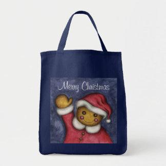Christmas Gingerbread Man Santa Tote Gift Bag