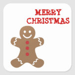 Christmas Gingerbread Man Square Sticker