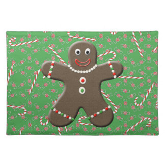 Christmas Gingerbread Men Green Holiday Placemat