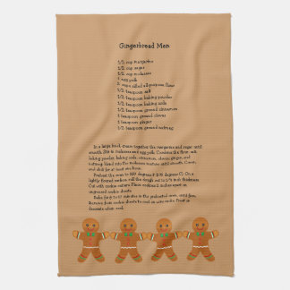 Christmas Gingerbread Men Recipe Tea Towel