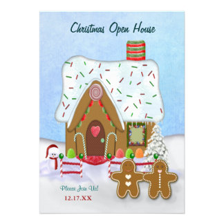 Christmas Gingerbread Open House Invitation Personalized Announcement