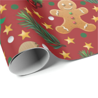 Christmas Gingerbread pattern wrapping paper