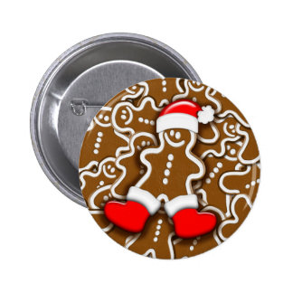 Christmas Gingerbread Santa Claus Button
