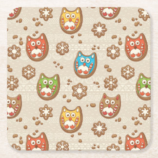 Christmas Gingerbread Square Paper Coaster
