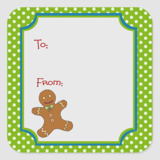 Christmas Gingerbread Sticker Gift Tag