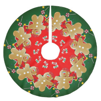 Christmas Gingerbread Sweet Candies Brushed Polyester Tree Skirt