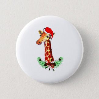 Christmas Giraffe 6 Cm Round Badge