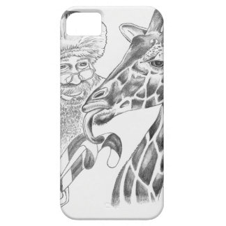 Christmas Giraffe and Santa Barely There iPhone 5 Case