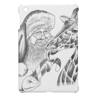 Christmas Giraffe and Santa iPad Mini Cover