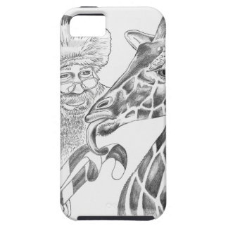 Christmas Giraffe and Santa Tough iPhone 5 Case