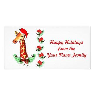 Christmas Giraffe Customised Photo Card