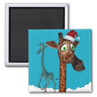 Christmas Giraffe Magnetite Square Magnet