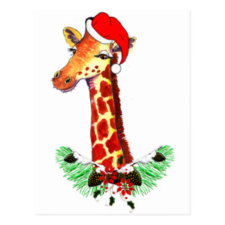 Christmas Giraffe Postcards