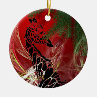 Christmas Giraffe ~ Round Ornament