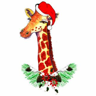 Christmas Giraffe Standing Photo Sculpture