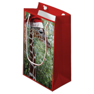 Christmas Giraffe wearing a Santa Claus Hat Small Gift Bag