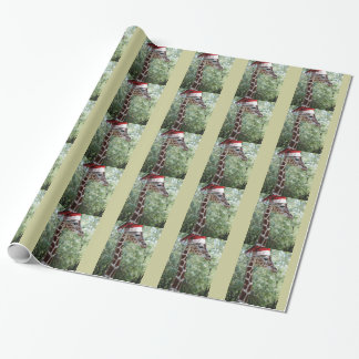 Christmas Giraffe with Santa Hat Wrapping Paper