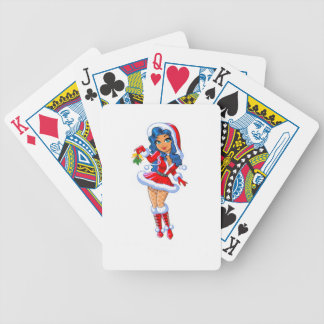 Christmas Girl Bicycle Playing Cards