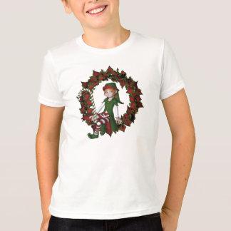 Christmas Girl Elf On Wreath Cute Holiday Shirt