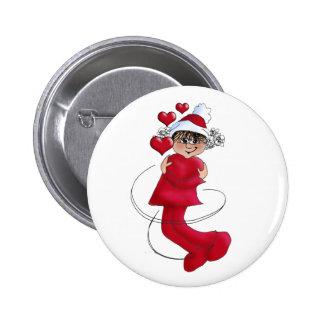 Christmas girl hugging 6 cm round badge
