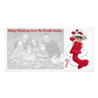 Christmas girl hugging photo greeting card