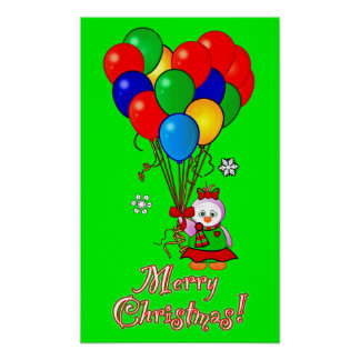 Christmas Girl Penguin with Heart Balloons Posters