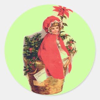 Christmas Girl Round Sticker